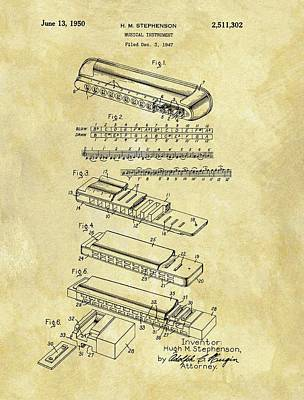 Musicians Drawings - 1950 Harmonica Patent by Dan Sproul