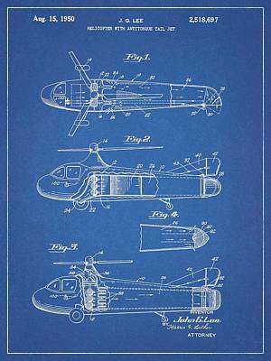 Helicopter Drawing - 1950 Helicopter Patent Blueprint by Dan Sproul