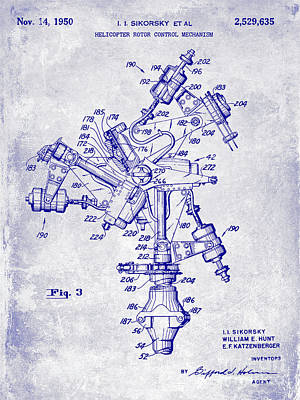 Helicopter Photograph - 1950 Helicopter Patent Blueprint by Jon Neidert