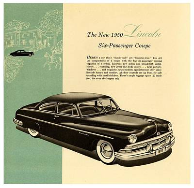 Drawing - 1950 Lincoln 6 Passenger Coupe by Allen Beilschmidt