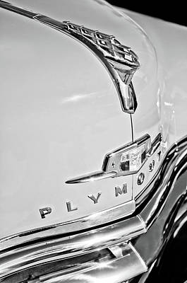 1950 Plymouth Coupe Hood Ornament - Emblem -0116bw Art Print