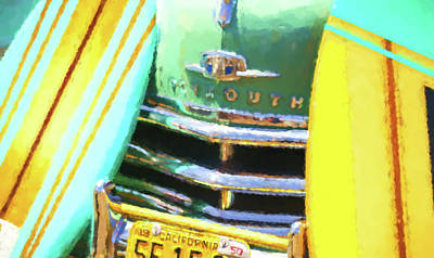 Digital Art - 1950 Plymouth Woody And Surfboards Watercolor 2 by Scott Campbell