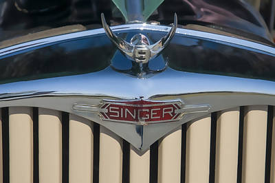 Digital Art - 1950 Singer 9 Roadster Hood Ornament by Chris Flees