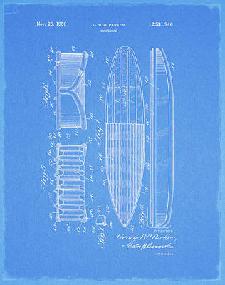 Drawing - 1950 Surfboard Patent by Dan Sproul