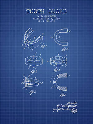 Guard Digital Art - 1950 Tooth Guard Patent Spbx16_bp by Aged Pixel