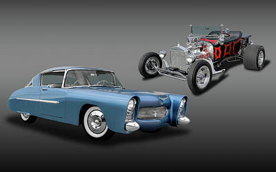 Photograph - 1950 Ultra Modern Merc And A 1923 T-bucket Roadster  -  1950merc1923tbucket6086 by Frank J Benz