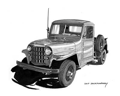 Drawing - 1950 Willys Pick Up Truck by Jack Pumphrey