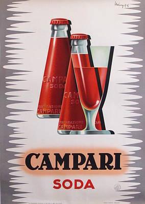 1950s Art Deco Italian Campari Soda Drink Advertisement - Giovanni Mingozzi Original by Giovanni Mingozzi