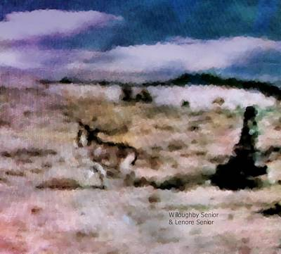 Photograph - 1950's - Boy Chases Burro by Lenore Senior and Willoughby Senior