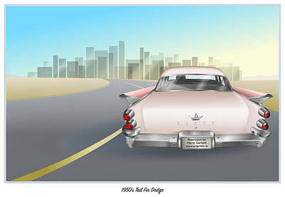 Drawing - 1950's Dodge by Marty Garland