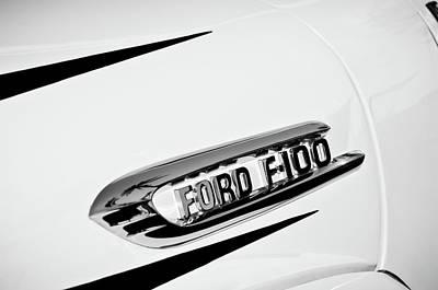 1950's Ford F-100 Fordomatic Pickup Truck Emblem -0129bw Art Print by Jill Reger