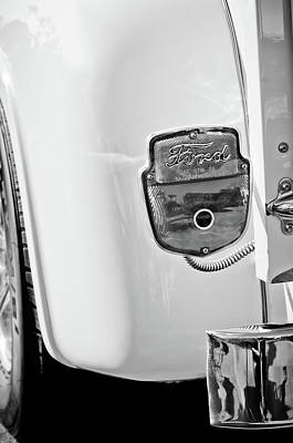 Photograph - 1950's Ford F-100 Pickup Truck Taillight Emblem -0143bw by Jill Reger