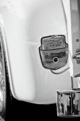 1950's Ford F-100 Pickup Truck Taillight Emblem -0143bw Art Print by Jill Reger