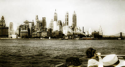 Sepia Tone Photograph - 1950s Lower Manhattan Ny by Marilyn Hunt
