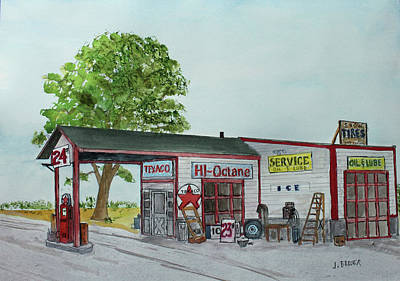 Painting - 1950's Neighborhood Station by Jack G Brauer