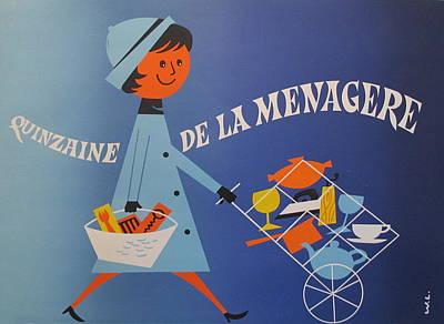 1950s Original French Bicycle Poster, Quinzaine De La Menagere Original by Unknown