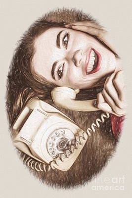 Comics Royalty-Free and Rights-Managed Images - 1950s Pinup Girl Talking On Retro Phone by Jorgo Photography - Wall Art Gallery