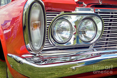 Photograph - 1950's Red Plymouth Savoy Front Chrome Grill by David Zanzinger