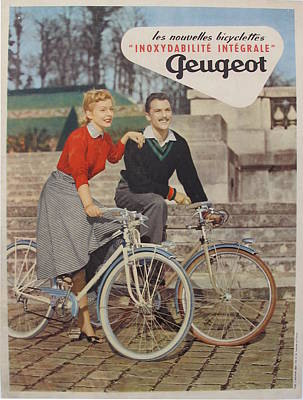1950s Vintage French Bicycle Poster, Peugeot Bike Advertisement Original by J Bazaine