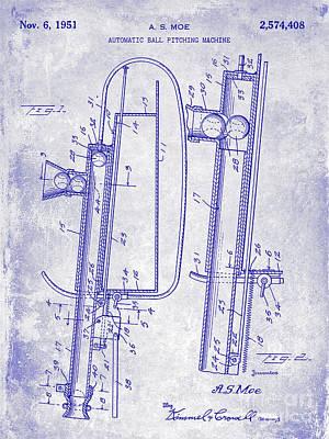 1951 Baseball Pitching Machine Patent Blueprint  Art Print by Jon Neidert