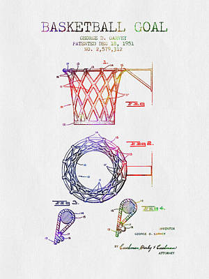 Slam Drawing - 1951 Basketball Goal Patent - Color by Aged Pixel