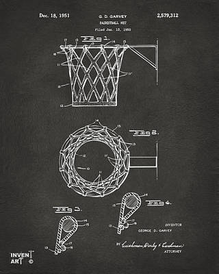 1951 Basketball Net Patent Artwork - Gray Art Print by Nikki Marie Smith