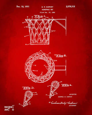 Basket Ball Drawing - 1951 Basketball Net Patent Artwork - Red by Nikki Marie Smith