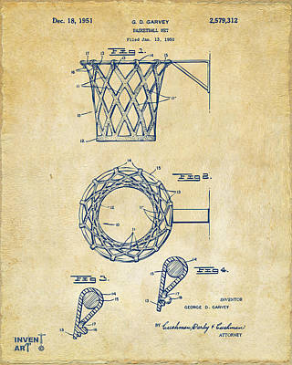 Basket Ball Drawing - 1951 Basketball Net Patent Artwork - Vintage by Nikki Marie Smith