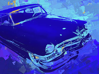 Digital Art - 1951 Cadillac Pop Blue by David King