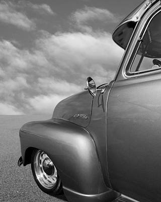 Photograph - 1951 Chevy Truck Detail In Mono by Gill Billington