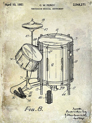 Pedals Photograph - 1951 Drum Kit Patent  by Jon Neidert