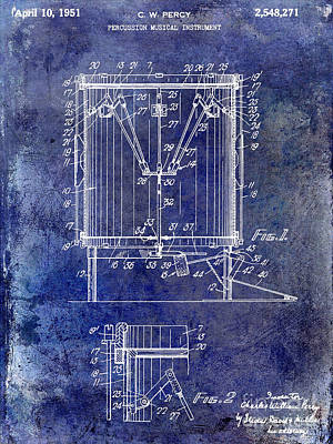 1951 Drum Patent Blue Art Print by Jon Neidert