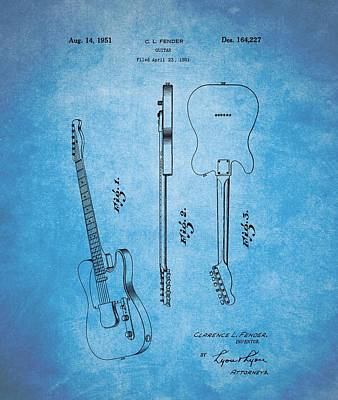 Music Drawings - 1951 Fender Guitar Patent Blue by Dan Sproul