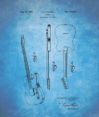 Guitar Drawing - 1951 Fender Guitar Patent Blue by Dan Sproul