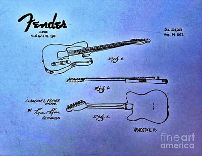Painted Details Drawing - 1951 Fender Guitar Patent - Purple Abstract by Scott D Van Osdol