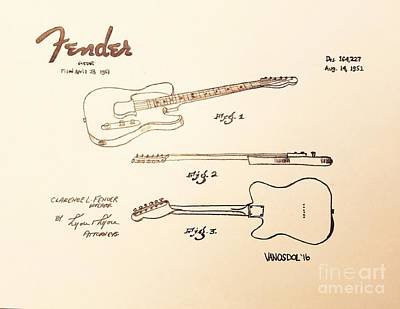 1951 Fender Guitar Patent - Vintage  Original by Scott D Van Osdol