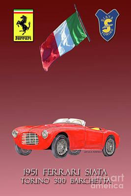 Painting - 1951 Ferrari 212 Siata Barchettas  by Jack Pumphrey