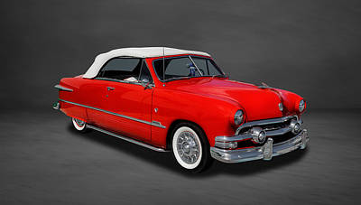 Ford Custom V8 Photograph - 1951 Ford Custom V8 Convertible  -  3co by Frank J Benz