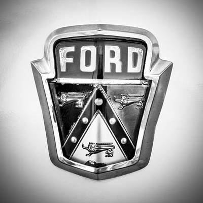American Cars Photograph - 1951 Ford Emblem -0195bw by Jill Reger
