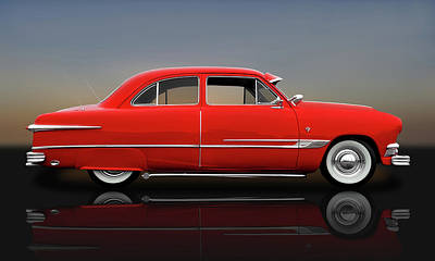 Photograph - 1951 Ford Tudor Sedan  -  1951fordtudorrflct9445 by Frank J Benz