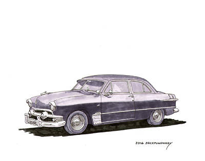 Watercolor With Pen Painting - 1951 Ford Two Door Sedan by Jack Pumphrey