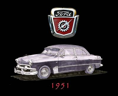 Painting - 1951 Ford Two Door Sedan Tee Shirt Art by Jack Pumphrey