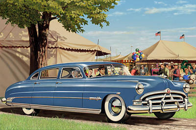 Country Fair Painting - 1951 Hudson Hornet Fair Americana Antique Car Auto Nostalgic Rural Country Scene Landscape Painting by Walt Curlee