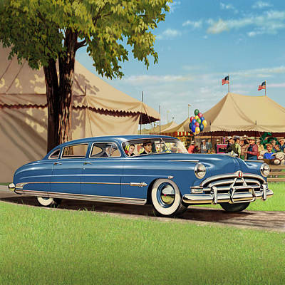1951 Hudson Hornet - Square Format - Antique Car Auto - Nostalgic Rural Country Scene Painting Art Print