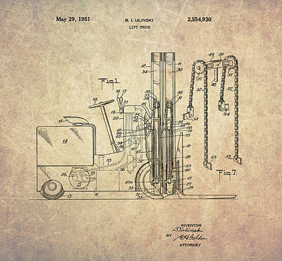 Mixed Media - 1951 Lift Truck by Dan Sproul