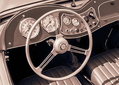 2 Seat Photograph - 1951 Mg Td Midget Dashboard And Steering Wheel by Jim Hughes