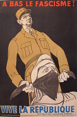 1951 Original French Political Propaganda Poster, Anti Gaullist, Anti Fascist, Vive La Republique Original by Fougeron