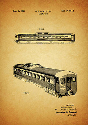 Train Mixed Media - 1951 Railway Car Patent by Dan Sproul
