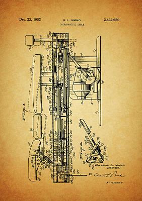 1952 Chiropractic Table Patent Art Print