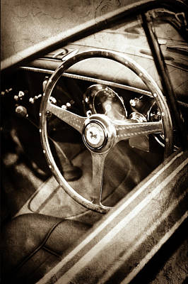 Photograph - 1952 Ferrari 212 Inter Vignale Coupe Steering Wheel Emblem -1598s by Jill Reger